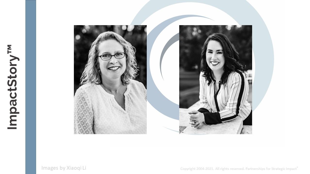 Maryfrances and Alison are the ImpactStory Coaches and here to simplify the often complex world of program evaluation so that you can be clear and confident in telling your most convicing impact stories. Storytelling with data.